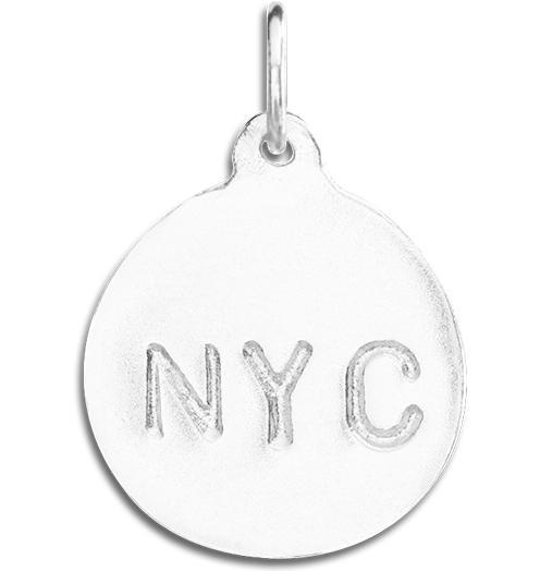 """NYC"" Disk Charm - Sterling Silver - Jewelry - Helen Ficalora - 4"