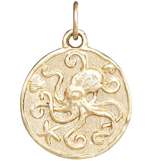 Octopus Coin Charm - 14k Yellow Gold - Jewelry - Helen Ficalora - 1