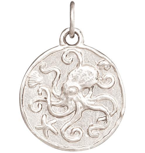 Octopus Coin Charm - 14k White Gold - Jewelry - Helen Ficalora - 2
