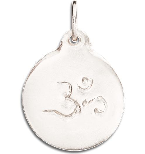 Om Disk Charm - 14k White Gold - Jewelry - Helen Ficalora - 2