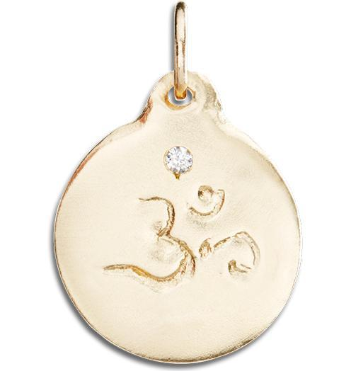 Om Disk Charm With Diamond - 14k Yellow Gold - Jewelry - Helen Ficalora - 1