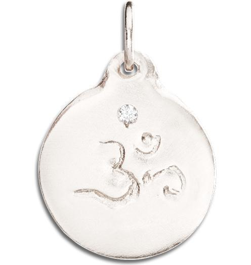 Om Disk Charm With Diamond - 14k White Gold - Jewelry - Helen Ficalora - 2