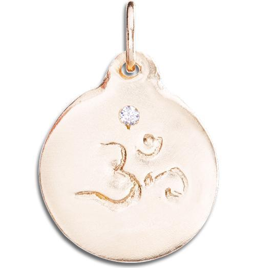 Om Disk Charm With Diamond - 14k Pink Gold - Jewelry - Helen Ficalora - 3