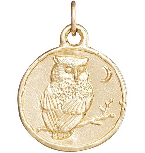 Owl Coin Charm - 14k Yellow Gold - Jewelry - Helen Ficalora - 1