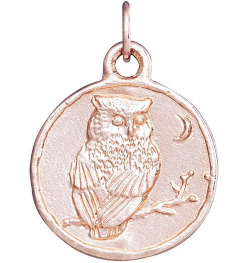Owl Coin Charm - 14k Pink Gold - Jewelry - Helen Ficalora - 3