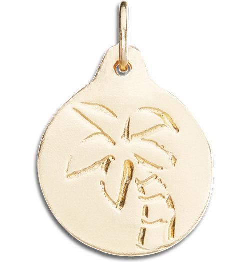 Palm Tree Disk Charm - 14k Yellow Gold - Jewelry - Helen Ficalora - 1