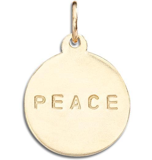 """Peace"" Disk Charm - 14k Yellow Gold - Jewelry - Helen Ficalora - 1"