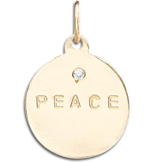 """Peace"" Disk Charm With Diamond - 14k Yellow Gold - Jewelry - Helen Ficalora - 1"
