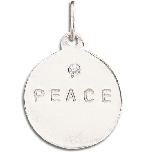 """Peace"" Disk Charm With Diamond - 14k White Gold - Jewelry - Helen Ficalora - 2"