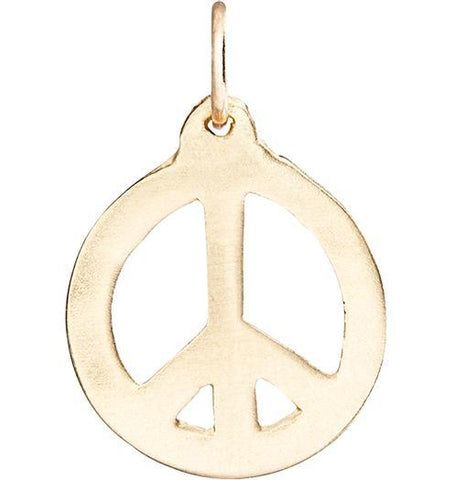 Peace Sign Cutout Charm - 14k Yellow Gold - Jewelry - Helen Ficalora - 1