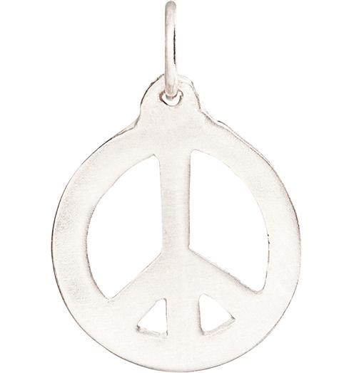Peace Sign Cutout Charm - 14k White Gold - Jewelry - Helen Ficalora - 2