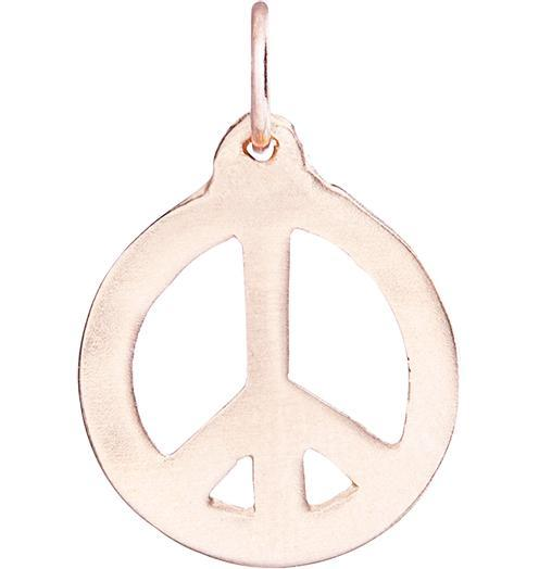 Peace Sign Cutout Charm - 14k Pink Gold - Jewelry - Helen Ficalora - 3