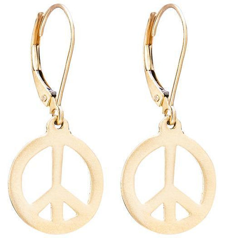 Peace Sign Dangle Earrings - 14k Yellow Gold - Jewelry - Helen Ficalora