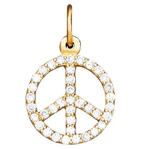 Peace Sign Mini Charm Pave Diamonds - 14k Yellow Gold - Jewelry - Helen Ficalora - 1