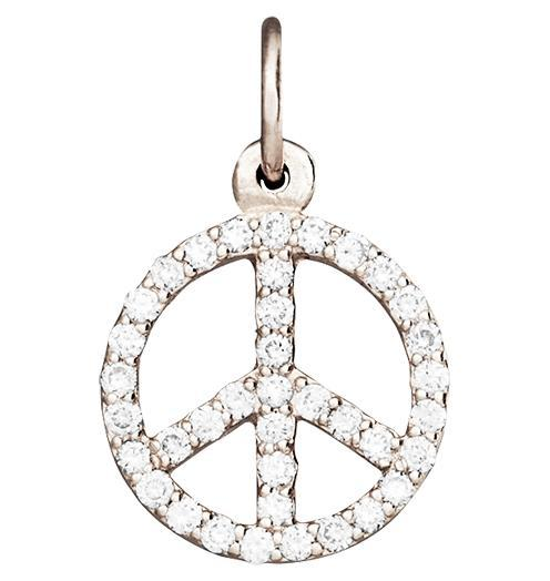 Peace Sign Mini Charm Pave Diamonds - 14k White Gold - Jewelry - Helen Ficalora - 2