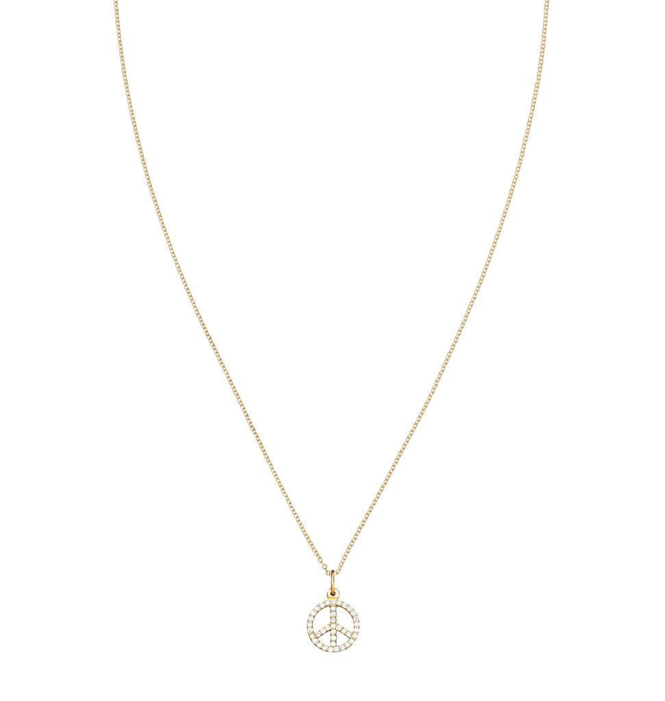 Peace Sign Mini Charm Pave Diamonds -  - Jewelry - Helen Ficalora - 4