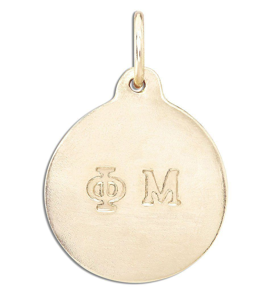 """Phi Mu"" Disk Charm Jewelry Helen Ficalora 14k Yellow Gold For Necklaces And Bracelets"