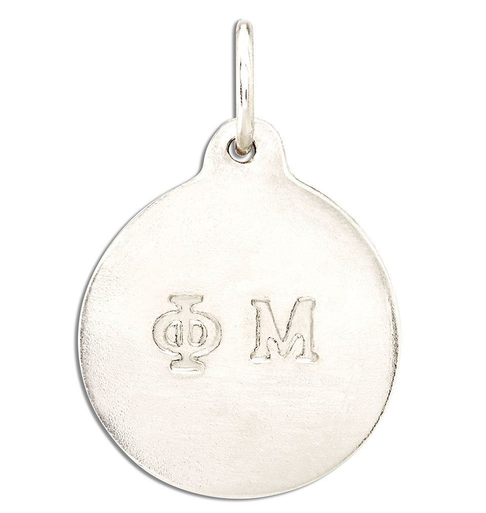"""Phi Mu"" Disk Charm Jewelry Helen Ficalora 14k White Gold For Necklaces And Bracelets"