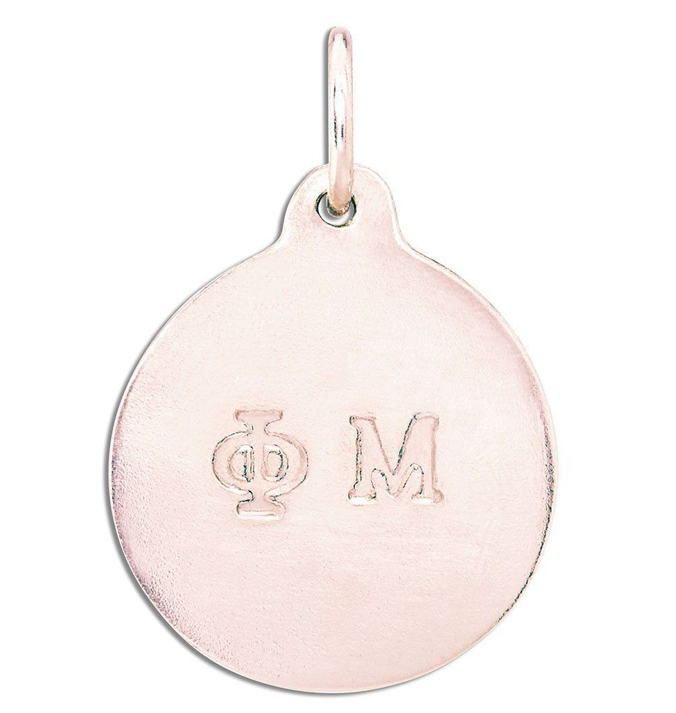 """Phi Mu"" Disk Charm Jewelry Helen Ficalora 14k Pink Gold For Necklaces And Bracelets"