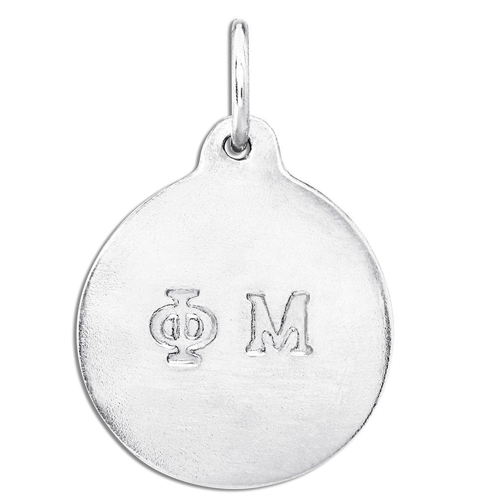 """Phi Mu"" Disk Charm Jewelry Helen Ficalora Sterling Silver For Necklaces And Bracelets"