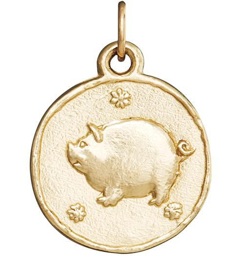 Pig Coin Charm - 14k Yellow Gold - Jewelry - Helen Ficalora - 1