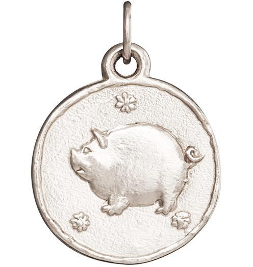 Pig Coin Charm - 14k White Gold - Jewelry - Helen Ficalora - 2