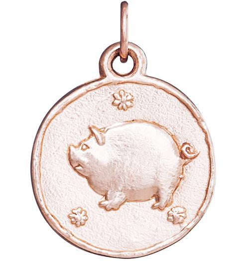 Pig Coin Charm - 14k Pink Gold - Jewelry - Helen Ficalora - 3