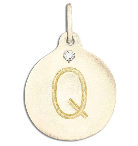 """Q"" Alphabet Charm With Diamond Jewelry Helen Ficalora 14k Yellow Gold For Necklaces And Bracelets"