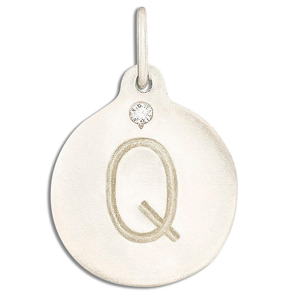 """Q"" Alphabet Charm With Diamond - 14k White Gold - Jewelry - Helen Ficalora - 2"