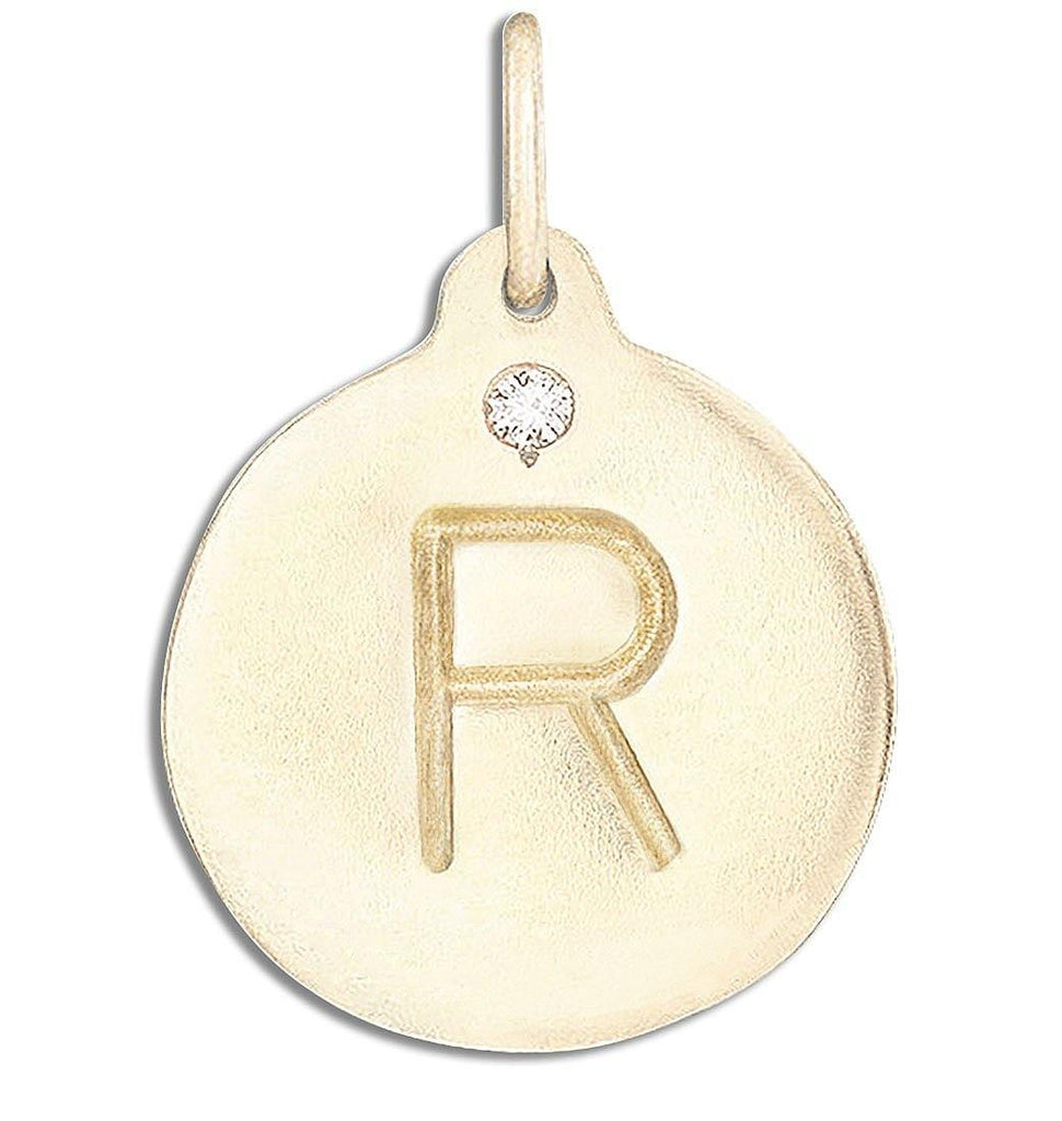 """R"" Alphabet Charm With Diamond - 14k Yellow Gold - Jewelry - Helen Ficalora - 1"