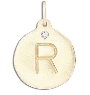 """R"" Alphabet Charm With Diamond Jewelry Helen Ficalora 14k Yellow Gold For Necklaces And Bracelets"