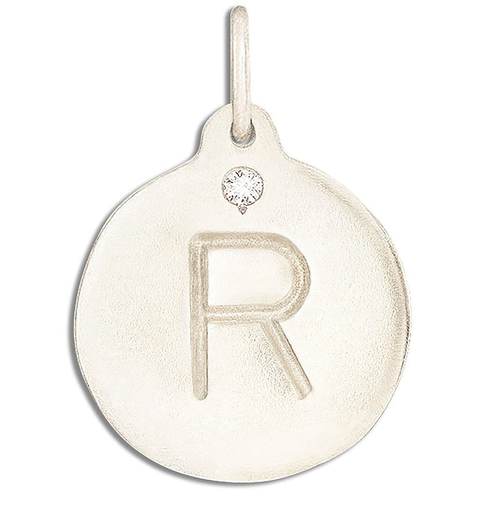 """R"" Alphabet Charm With Diamond - 14k White Gold - Jewelry - Helen Ficalora - 2"