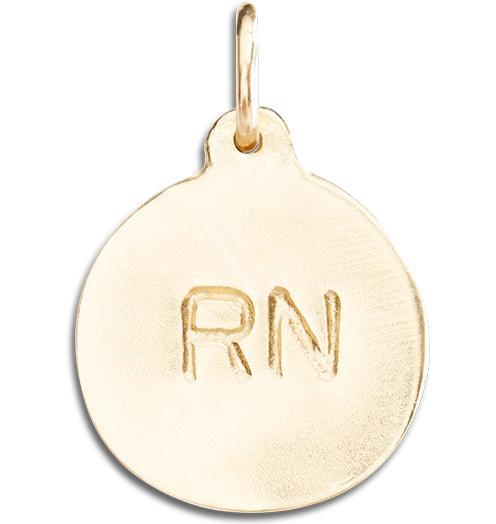 """RN"" Disk Charm - 14k Yellow Gold - Jewelry - Helen Ficalora - 1"