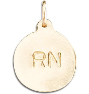 """RN"" Disk Charm Jewelry Helen Ficalora 14k Yellow Gold For Necklaces And Bracelets"