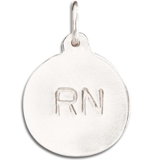"""RN"" Disk Charm Jewelry Helen Ficalora 14k White Gold For Necklaces And Bracelets"