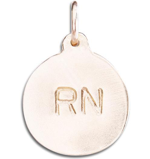 """RN"" Disk Charm Jewelry Helen Ficalora 14k Pink Gold For Necklaces And Bracelets"