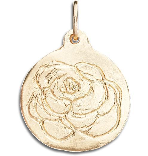 Rose Disk Charm - 14k Yellow Gold - Jewelry - Helen Ficalora - 1