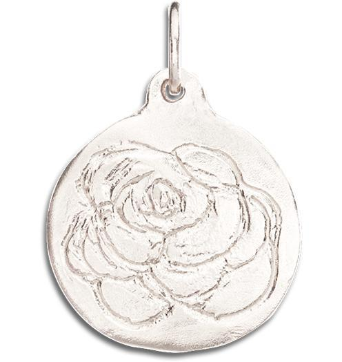 Rose Disk Charm - 14k White Gold - Jewelry - Helen Ficalora - 2