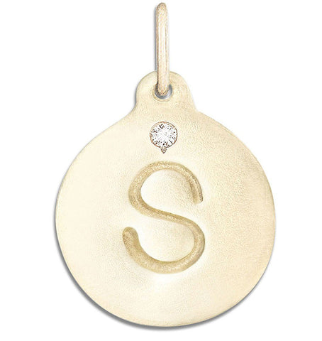 """S"" Alphabet Charm With Diamond Jewelry Helen Ficalora 14k Yellow Gold For Necklaces And Bracelets"