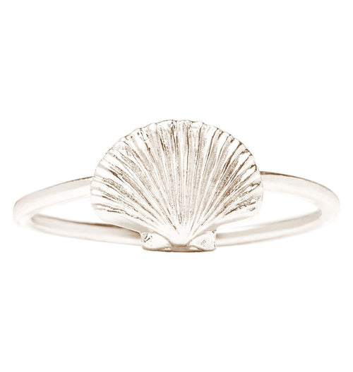 Scallop Shell Stacking Ring Jewelry Helen Ficalora 14k White Gold 6