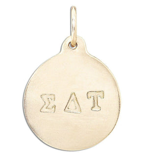 """Sigma Delta Tau"" Disk Charm Jewelry Helen Ficalora 14k Yellow Gold For Necklaces And Bracelets"