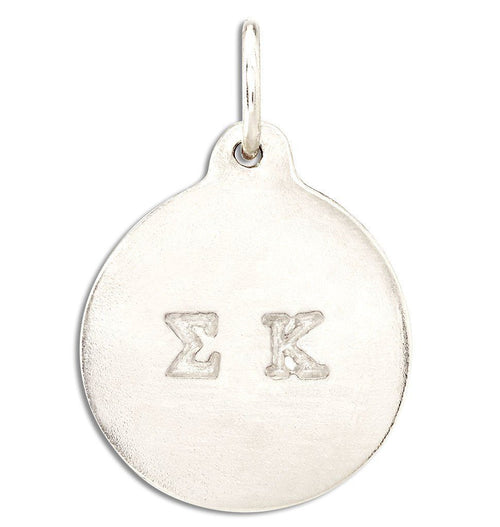 """Sigma Kappa"" Disk Charm Jewelry Helen Ficalora 14k White Gold For Necklaces And Bracelets"