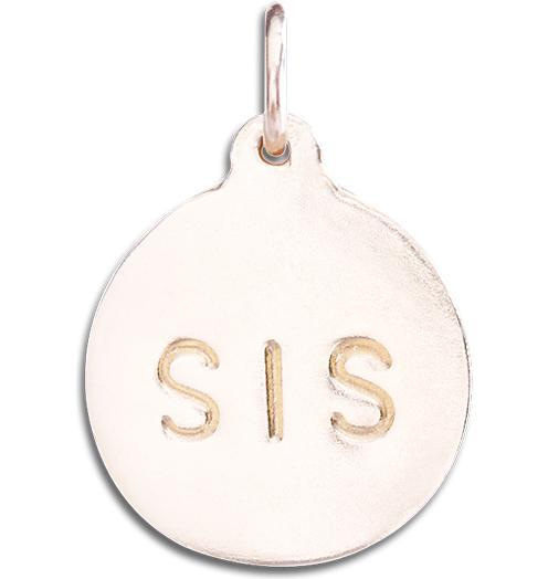 """Sis"" Disk Charm Jewelry Helen Ficalora 14k Pink Gold"
