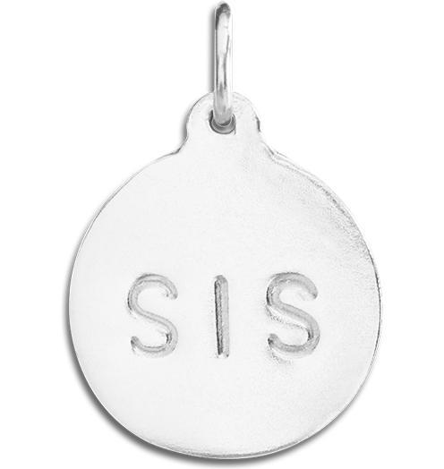 """Sis"" Disk Charm Jewelry Helen Ficalora Sterling Silver"