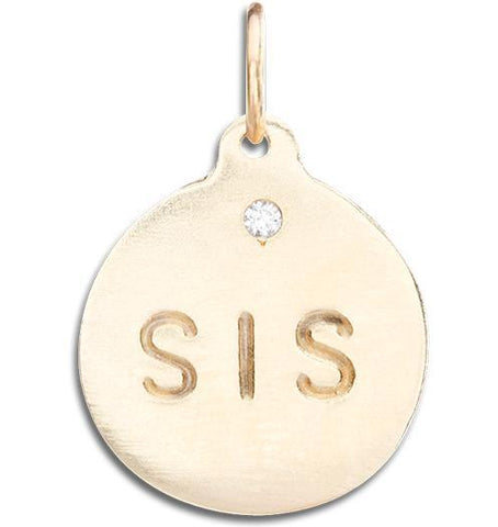 """Sis"" Disk Charm With Diamond Jewelry Helen Ficalora 14k Yellow Gold For Necklaces And Bracelets"