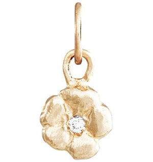 Small Cherry Blossom Flower Charm with Diamond Jewelry Helen Ficalora 14k Yellow Gold For Necklaces And Bracelets