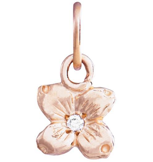Small Dogwood Flower Charm With Diamond - 14k Pink Gold - Jewelry - Helen Ficalora - 3