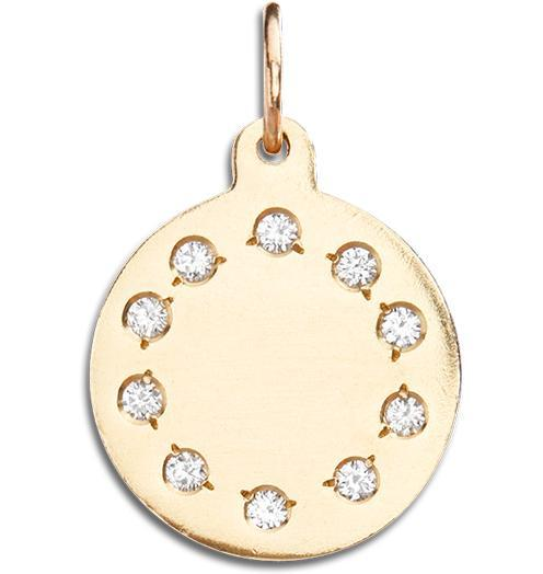 Small Eternity Disk Charm Pave Diamonds - 14k Yellow Gold - Jewelry - Helen Ficalora - 1
