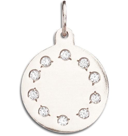 Small Eternity Disk Charm Pave Diamonds - 14k White Gold - Jewelry - Helen Ficalora - 2