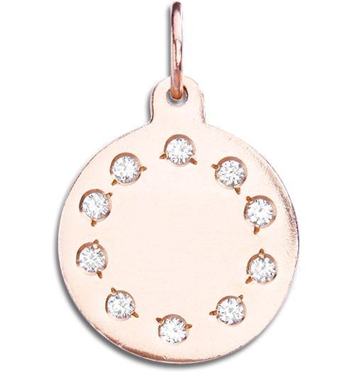 Small Eternity Disk Charm Pave Diamonds - 14k Pink Gold - Jewelry - Helen Ficalora - 3